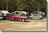 Antique autos camping in Whitefish